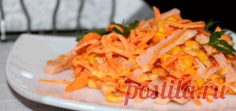 Салат с курицей и корейской морковкой. 5 рецептов .