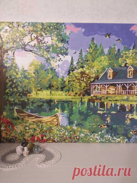 "Картина ""Домик у реки"" (по номерам)."