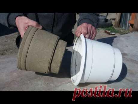 Поделки из цемента Как легко сделать вазон из цемента Идеи из цемента  Crafts from cement