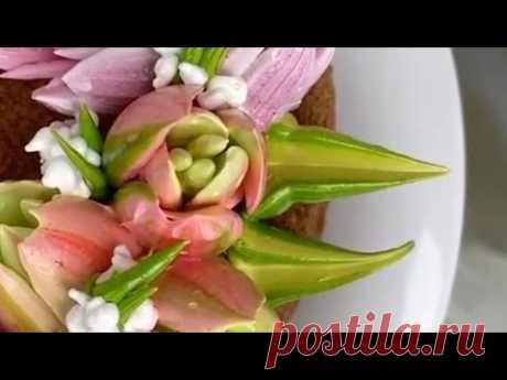 Как украсить торт тюльпанами из крема| Как использовать насадки тюльпан