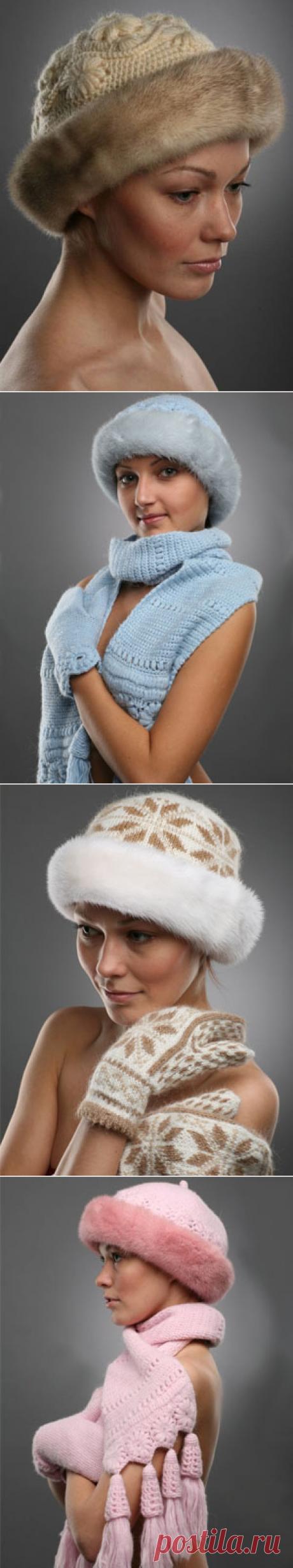 Шапочки с мехом Пошаговые фото вязания шапки с мехом