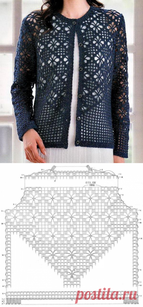 Knitting models with schemes and descriptions: Summer openwork jacket hook