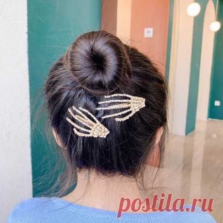 1pcs women hair accessories skeleton claws skull hand hair clip hairpin pins barrette halloween decoration Sale - Banggood.com