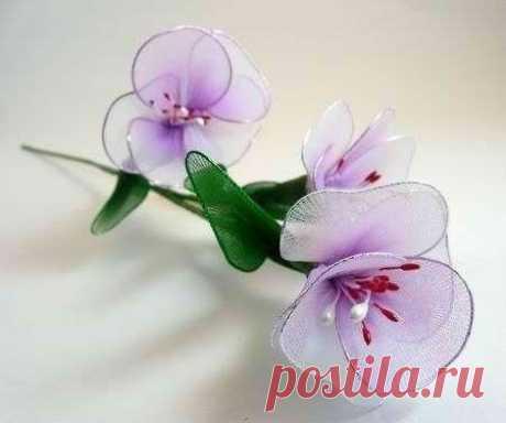 Нежные цветочки из капрона (Цветы из ткани) | МОДНЫЙ КАЛЕЙДОСКОП | Яндекс Дзен