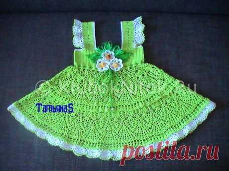 Ажурное платье с цветками | Вязание для девочек | Вязание спицами и крючком. Схемы вязания.