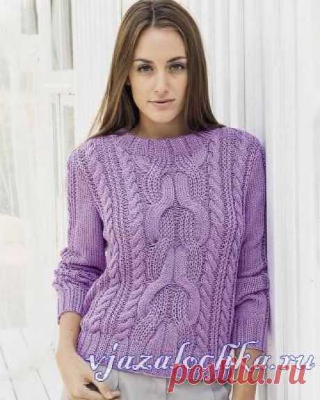 Схема вязания пуловера узором «Косы»