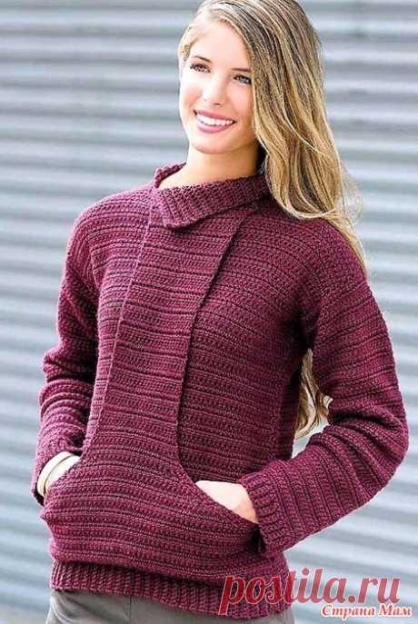 Пуловер с накладным карманом «кенгуру». Крючок. Пуловер связан двойными столбиками без накида. Накладной карман «кенгуру» делает его оригинальным и стильным.  Размеры: S (M,L,LX).