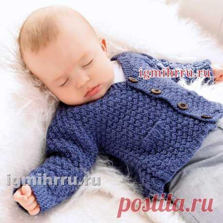 Para el chiquitín de edad hasta 15 meses. La chaqueta azul de lana sobre los botones. La labor de punto por los rayos para los niños