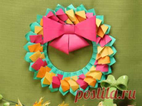 Мастерим пасхальный венок из цветной бумаги - Ярмарка Мастеров - ручная работа, handmade