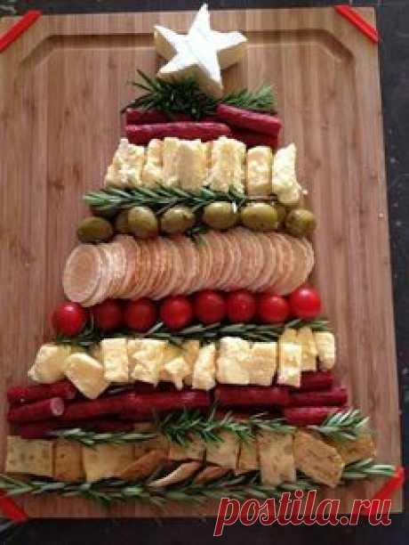 deli food as christmas tree