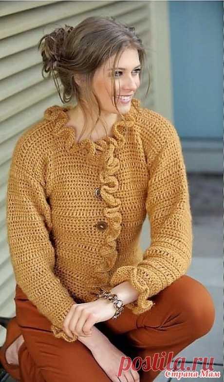Жакет с оборками и снуд. Спицы+крючок. Модное вязание №3 2020