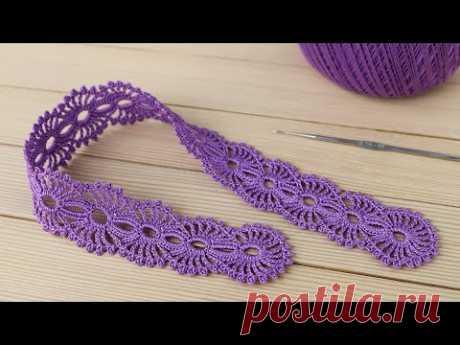 Красивое и простое ЛЕНТОЧНОЕ КРУЖЕВО вязание крючком для начинающих МК   Crochet Ribbon Lace Border