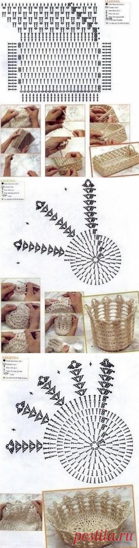 Схемы корзинок крючком