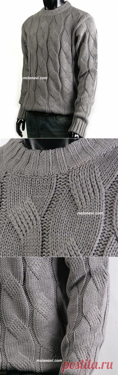 Мужской свитер с косой | Вяжем с Лана Ви