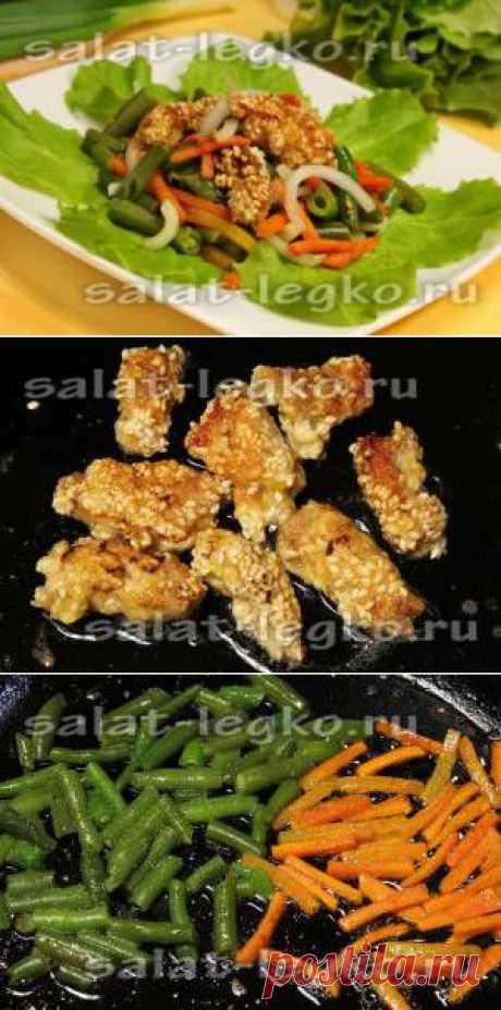 La receta de la ensalada caliente con la carne de cerdo en de sésamo panirovke
