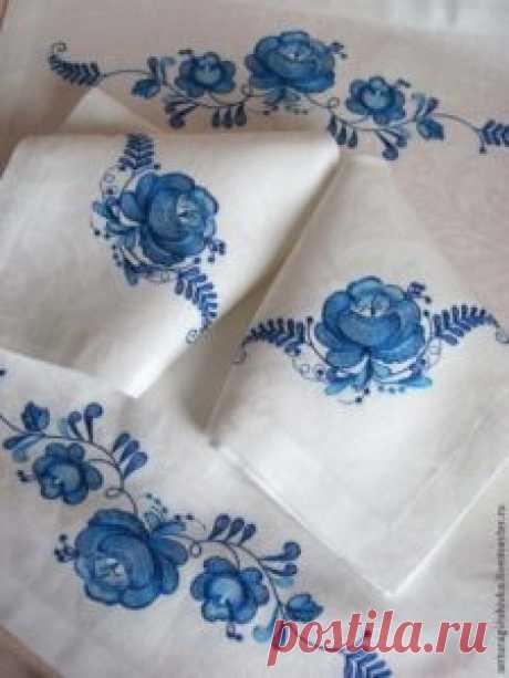 Техника вышивки Гжель Форфоровая вышивка видео фото