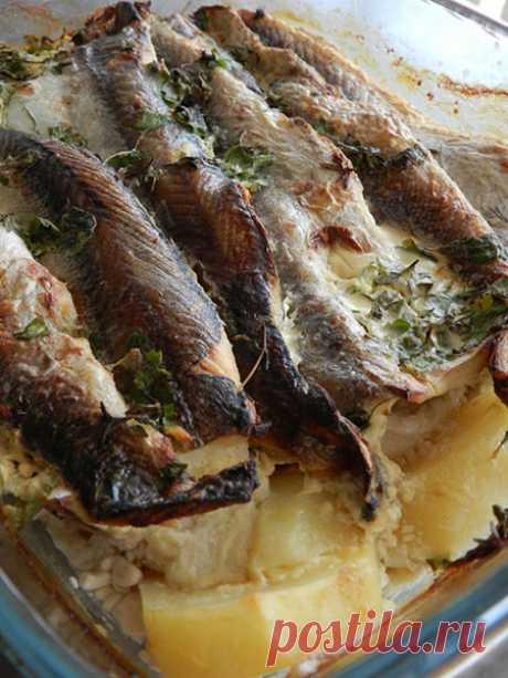 Хек, запечённый с картофелем, под сливочно-горчичным соусом
