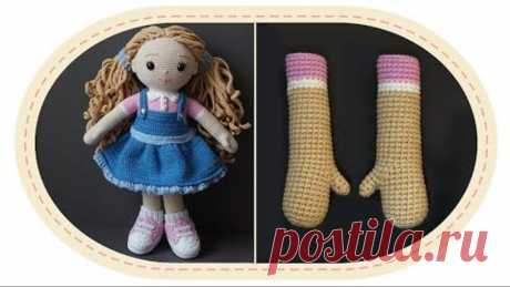 Вязаная кукла крючком Розали, часть 2 (руки). Crochet doll Rosalie, part 2 (hands).