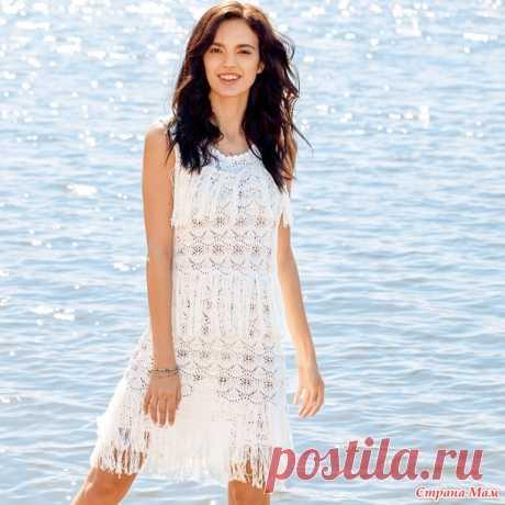 Белое ажурное платье с бахромой. - Вязание - Страна Мам