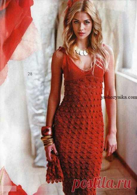 Вечернее платье с чешуйками. Вечернее платье крючком описание