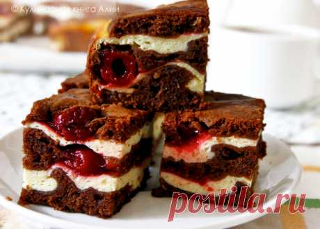 Brauni with cottage cheese and cherry - the step-by-step recipe with a photo