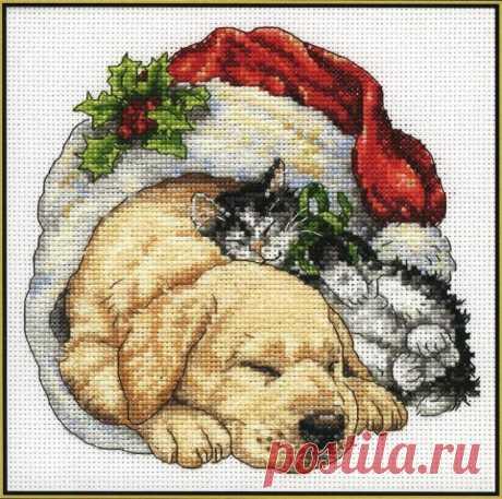 Схема вышивания крестом - Новогодние щенок и котёнок | Схемы и Узоры