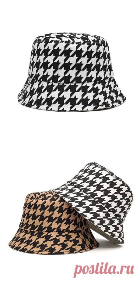 2021 Модные клетчатые Панамы с рисунком «гусиные лапки» для женщин и мужчин, хлопковые рыбацкие солнцезащитные летние шапки, уличная Кепка в стиле хип хоп Мужская панама    АлиЭкспресс