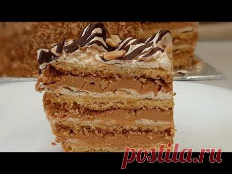 """Торт """"Воздушный сникерс"""" для настоящих сладкоежек ! Изюминка в том что он хрустящий и хрупкий!"""