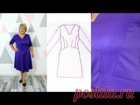 Платье трапеция подчеркивает и визуально уменьшает талию за счет интересных рельефов и линий