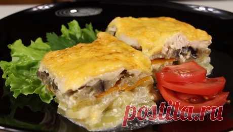 Картофельная запеканка с баклажанами и куриным филе