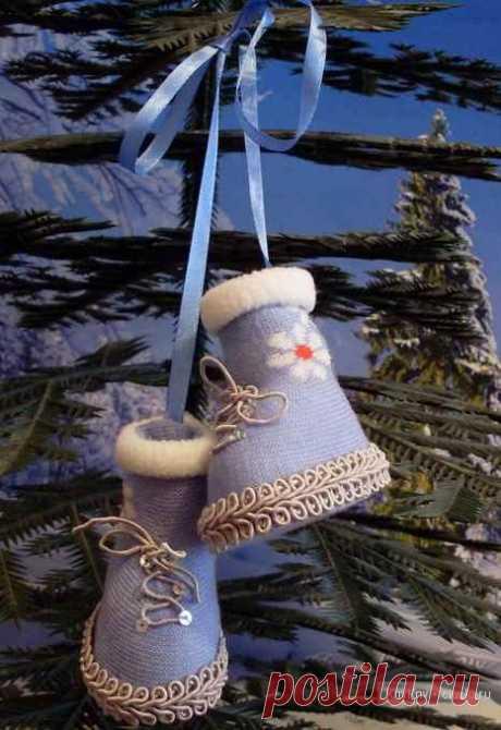 Новогодние игрушки - сапожки, мастер класс как сшить своими руками / Тильда, мягкие игрушки своими руками, выкройки / КлуКлу. Рукоделие - бисероплетение, квиллинг, вышивка крестом, вязание