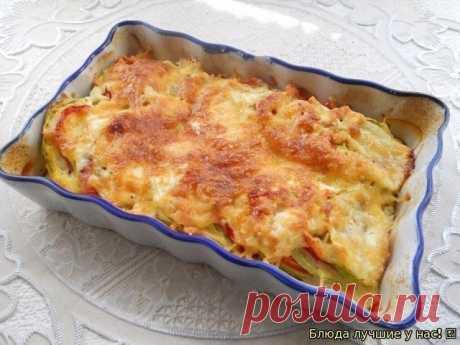 Кабачки, запеченные с помидорами и сыром Кабачки, запеченные с помидорами и сыром, — очень лёгкое и полезное блюдо. Из сочных, спелых овощей оно получается изумительно вкусным. Расход продуктов дан для небольшой порции. Попробуйте обязательно! Ингредиенты: Помидоры — 1-2 шт. Кабачок — 200-250 г Перец болгарский сладкий — 1 шт. Сметана — 20 г Молоко — 2,5 ст. л. Яйцо — 1 шт. Сыр твердый — 25–30 г Специи — по вкусу Перец черный молотый — по вкусу Соль — по вкусу Приготовлени...