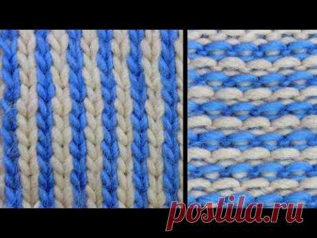 Ленивый жаккард - Полоски - Узор вязания спицами 79