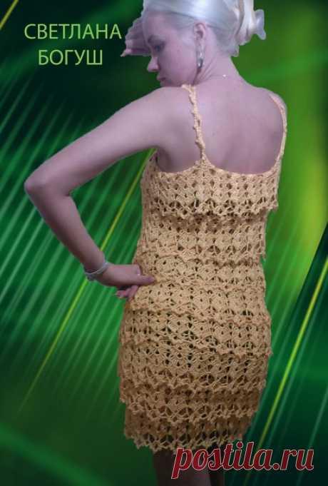Хвастик. Платье крючком по работам Ванессы Монторро. Нить: PEАRL вискоза в яйцах.