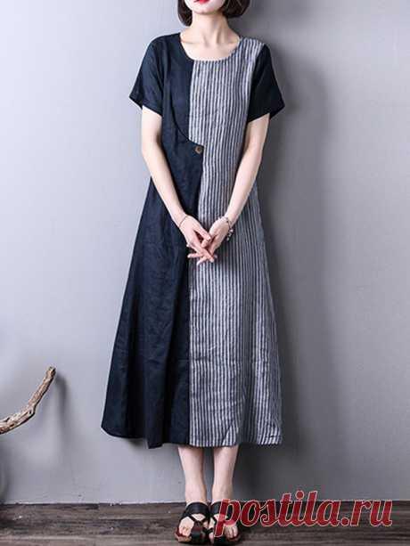 Hot saleZANZEA Полосатые асимметричные платья с коротким рукавом Cheap - NewChic
