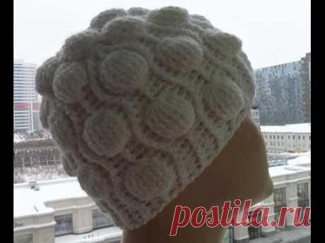 El gorrito en relieve por el gancho con шишечками.Relief Cap Crochet (el Gorro #35)