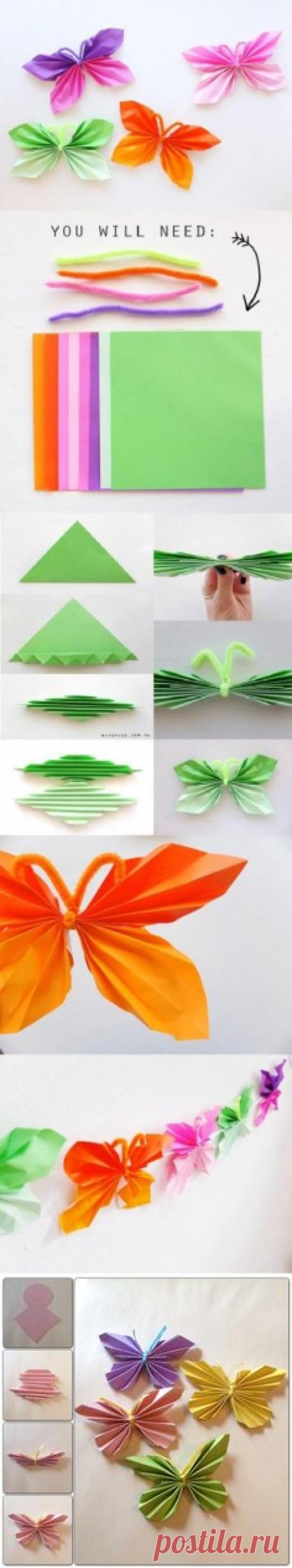 folded butterfly   Voorjaar   Бабочки, Knutselen и Бумажные Бабочки