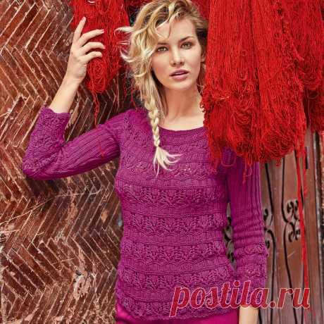 Узорчатый розовый джемпер - схема вязания спицами. Вяжем Джемперы на Verena.ru