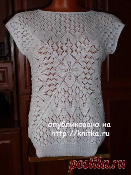 White jacket with a flower. Marina Efimenko's work, Knitting for women