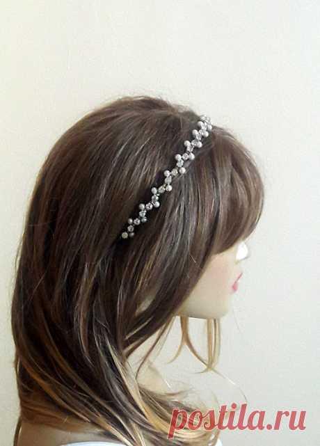 Wedding Headband Bridal Hair Accessory Rhinestone and by selenayy
