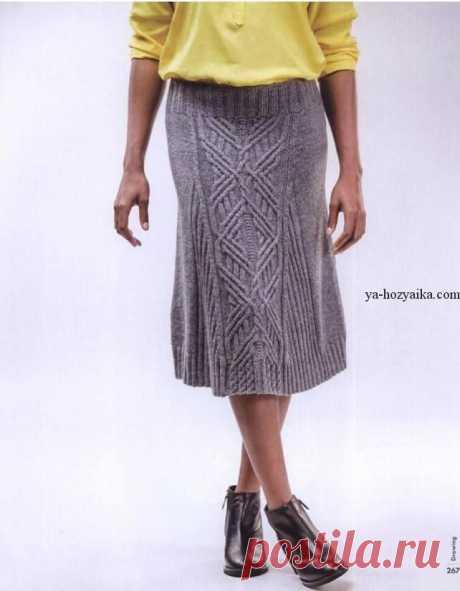 Женская вязаная юбка спицами с аранами. Связать теплую юбку спицами