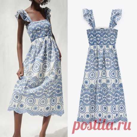 Женское платье с вышивкой Za, винтажное платье миди с оборками и широкими бретельками, откровенное эластичное с открытой спиной, лето 2021