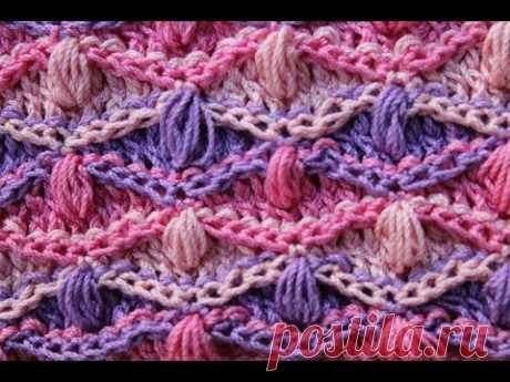 Разноцветный узор крючком«волны и шишечки», схема,
