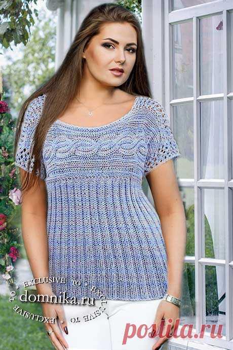 Вяжем на спицах летнюю кофточку для полных женщин - 52-56 размер