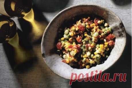 Суккоташ из свежей кукурузы, бобов лима и помидоров рецепт с фото