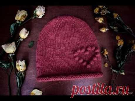 Вяжем шапку с сердечком ♥ Вяжем спицами ♥ Wild Rose ♥ На обхват головы 54-56 см набираем 76 петель, пряжа 100 г.- 500 м, спицы №5. Для увеличения или уменьшения размера шапки можно просто вязать спицы на пол раз...
