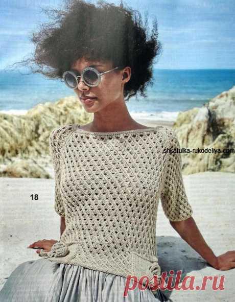 Сетчатый пуловер с накладными карманами Сетчатый пуловер с накладными карманами спицами. Пуловер с короткими рукавами реглан