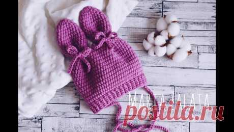 Мастер класс - Вязаная шапка с ушками крючком для новорожденного