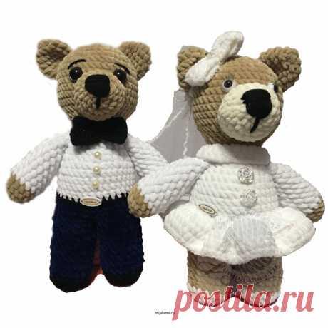 Мягкие игрушки Свадебная парочка медвежат Жених и невеста 30 смПлюшевый мир Мастерская игрушек Анны Ганоцкой