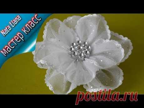 Цветок из ленты. Заколка для волос на 1 сентября. МК т Nata Liana. / Ribbon flower.